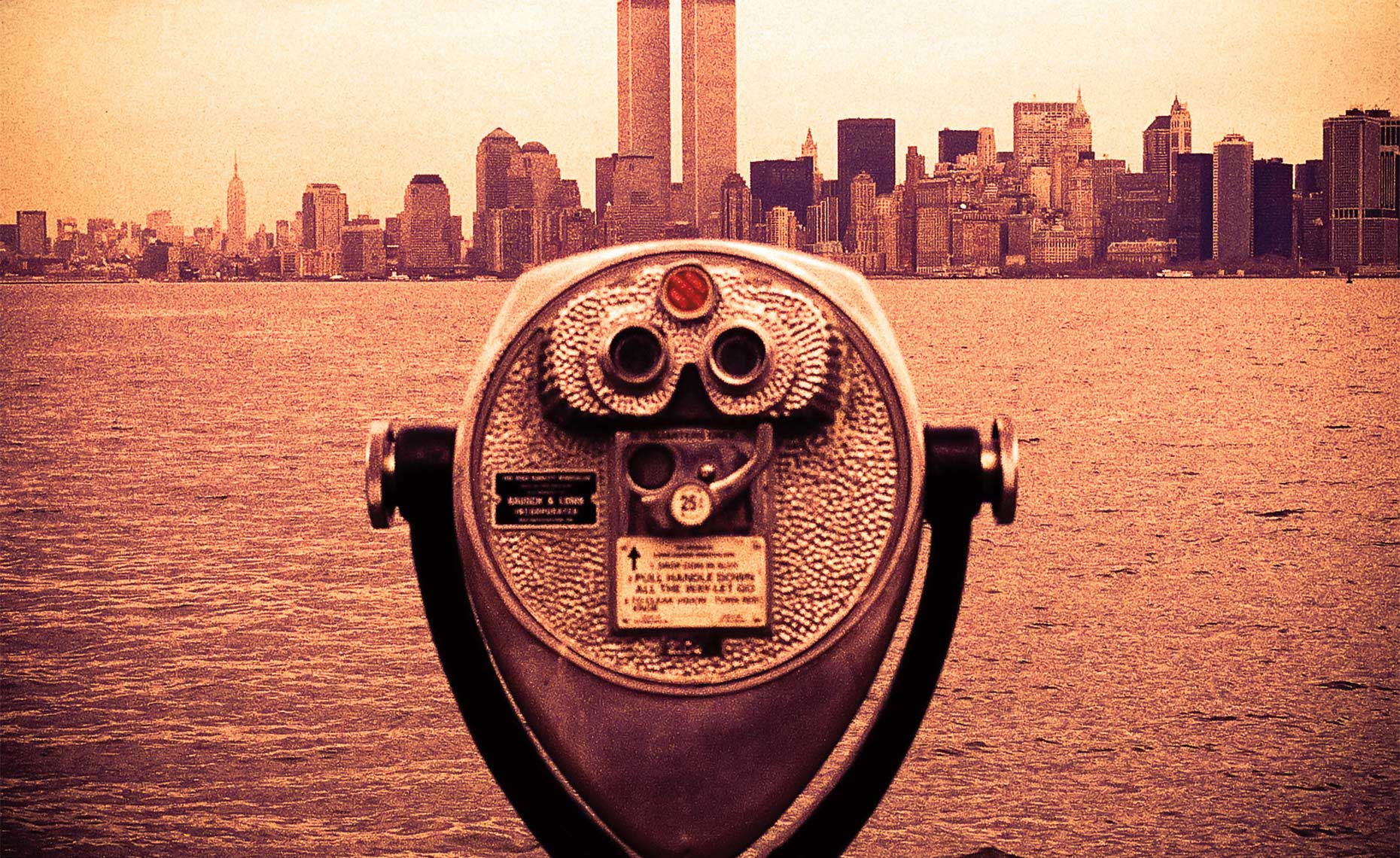 Binoculars Pointing At World Trade Center, New York Postcard