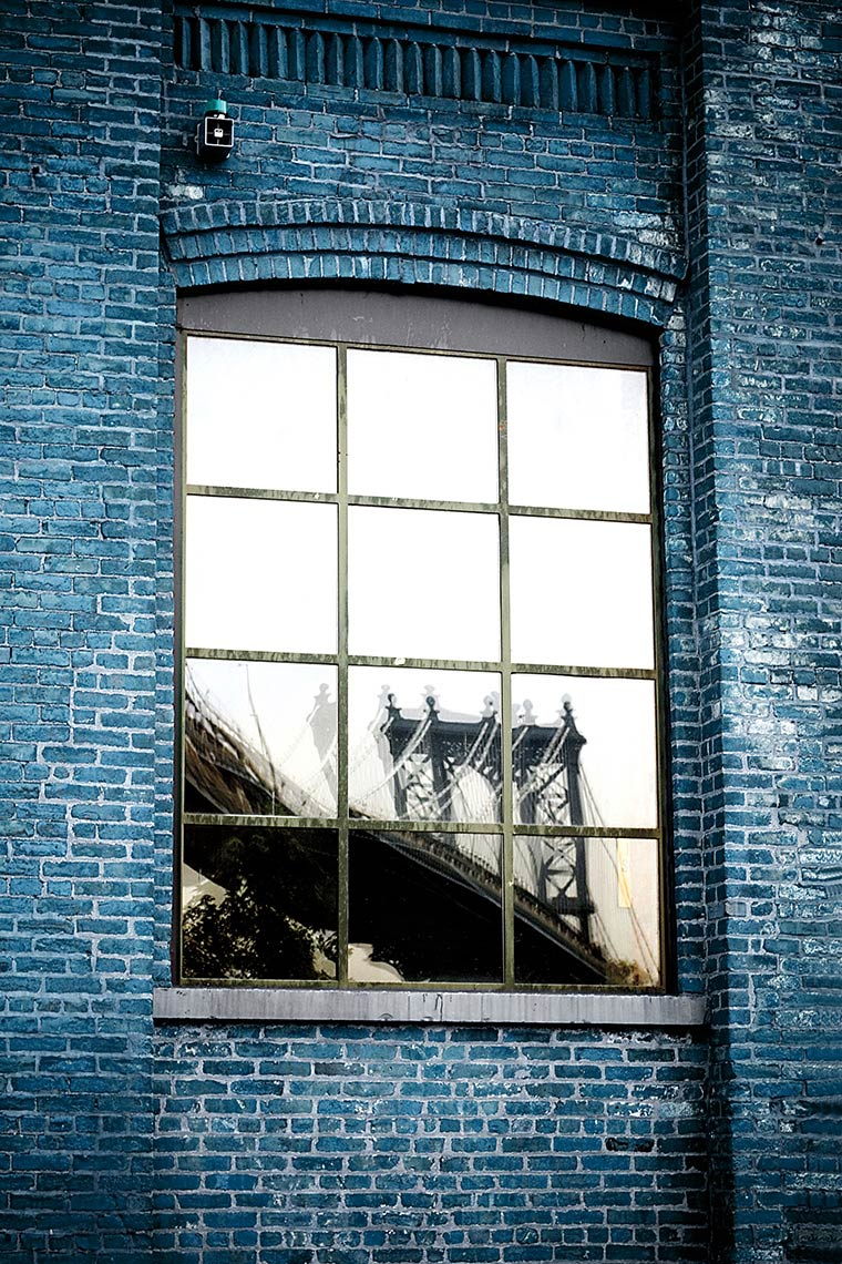 Manhattan Bridge Reflection On WIndow, Dumbo, Brooklyn, NY Postcard