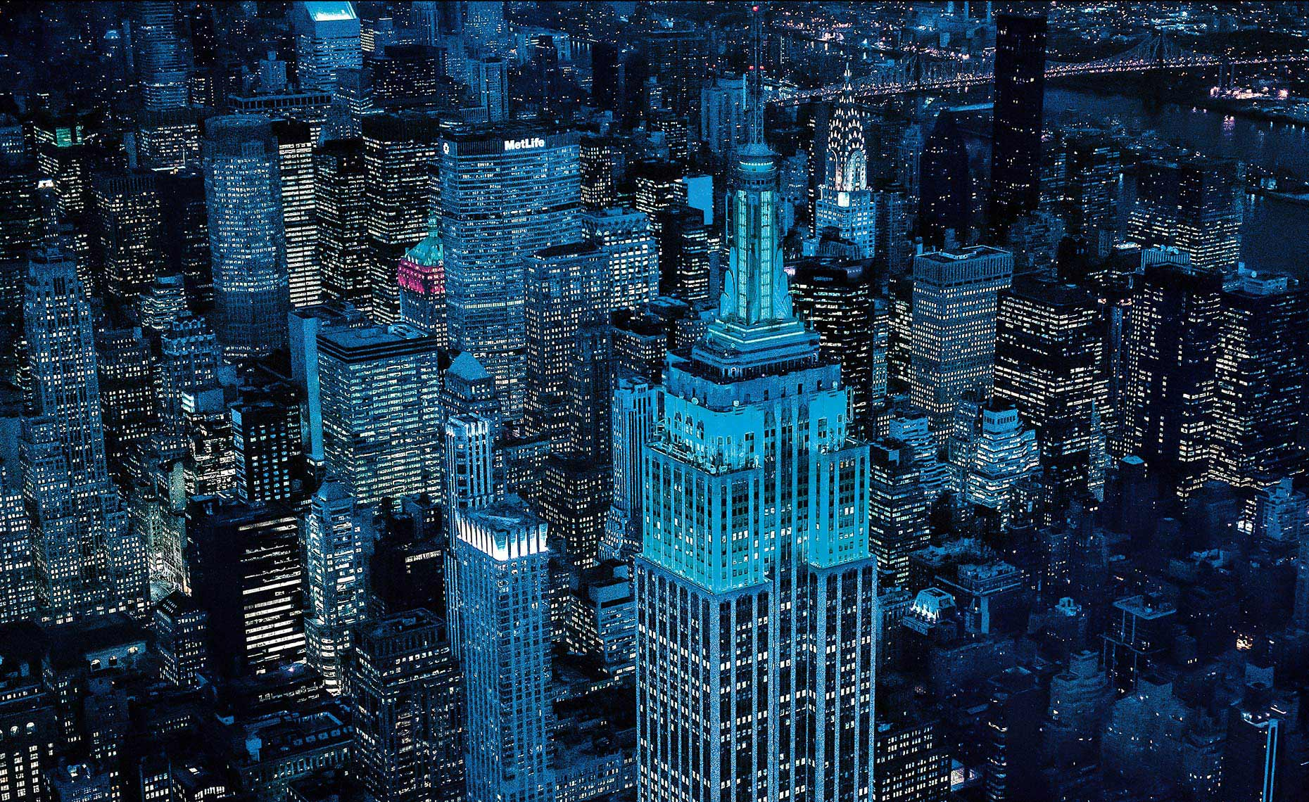 Aerial Photo Midtown At Night, NY Postcard
