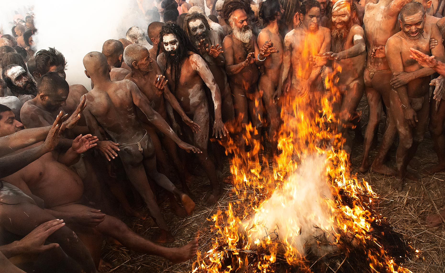 Naga Naked Sadhus on Bath Day, Kumbh Mela, Allahabad, India. Photo © Konstantino Hatzisarros 2010