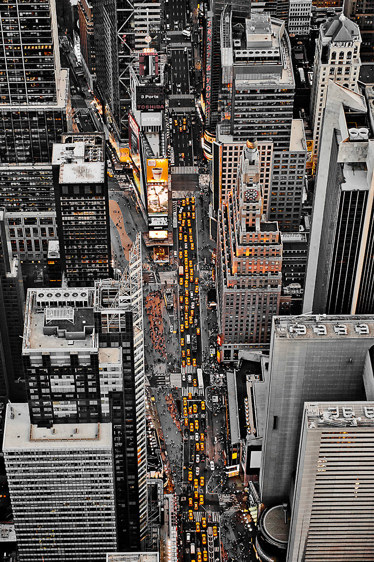 aerial-photo-of-taxis-in-times-square-new-york-postcard-by-psaris-productions