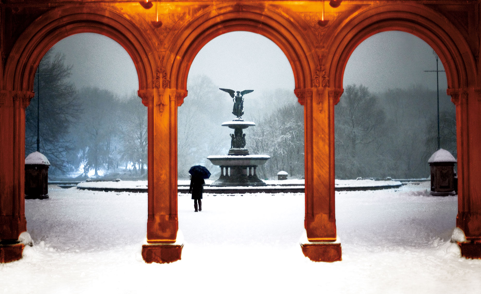 Bethseda Fountain, Central Park In Snow, NY Postcard