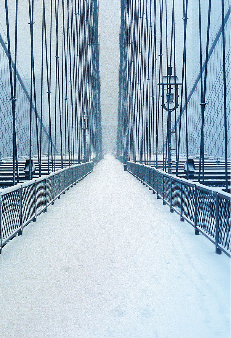 Brooklyn Bridge in Snow, New York Postcard