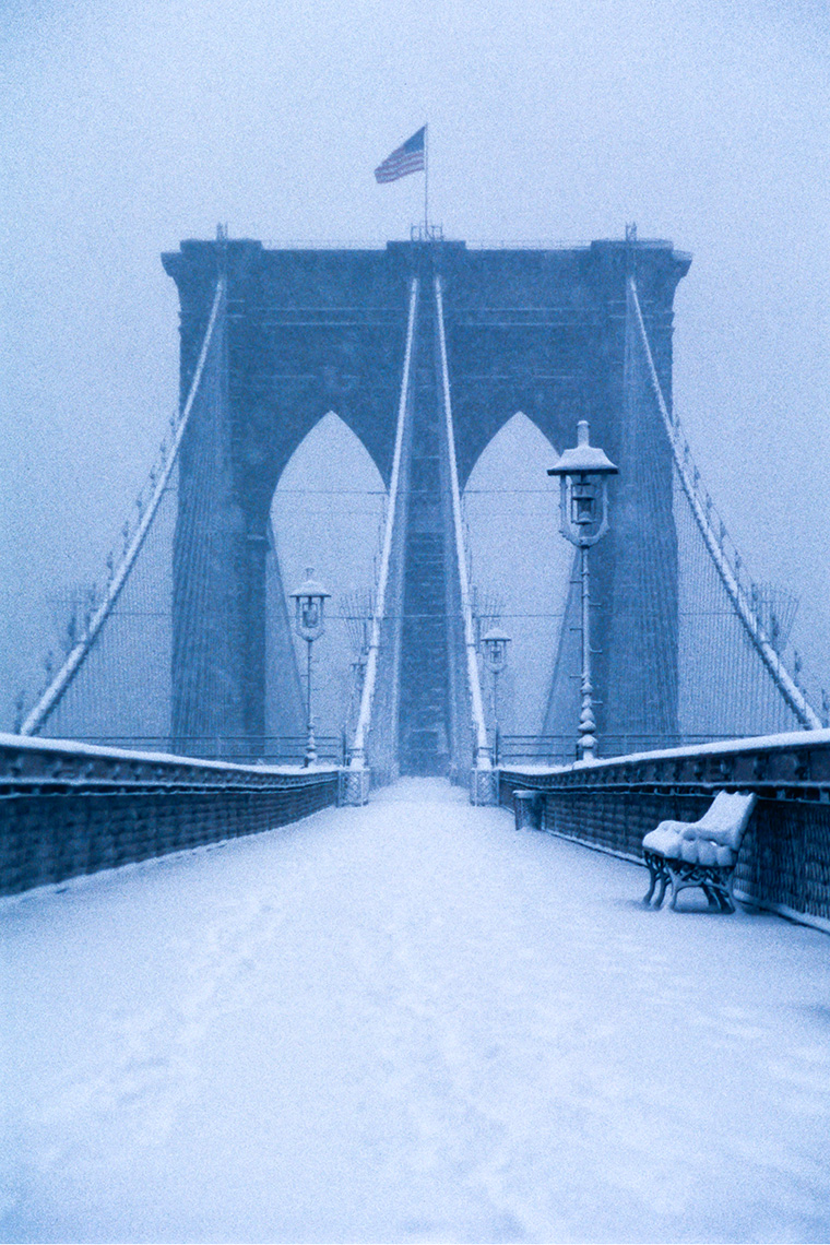 Brooklyn Bridge In Snow, New York City