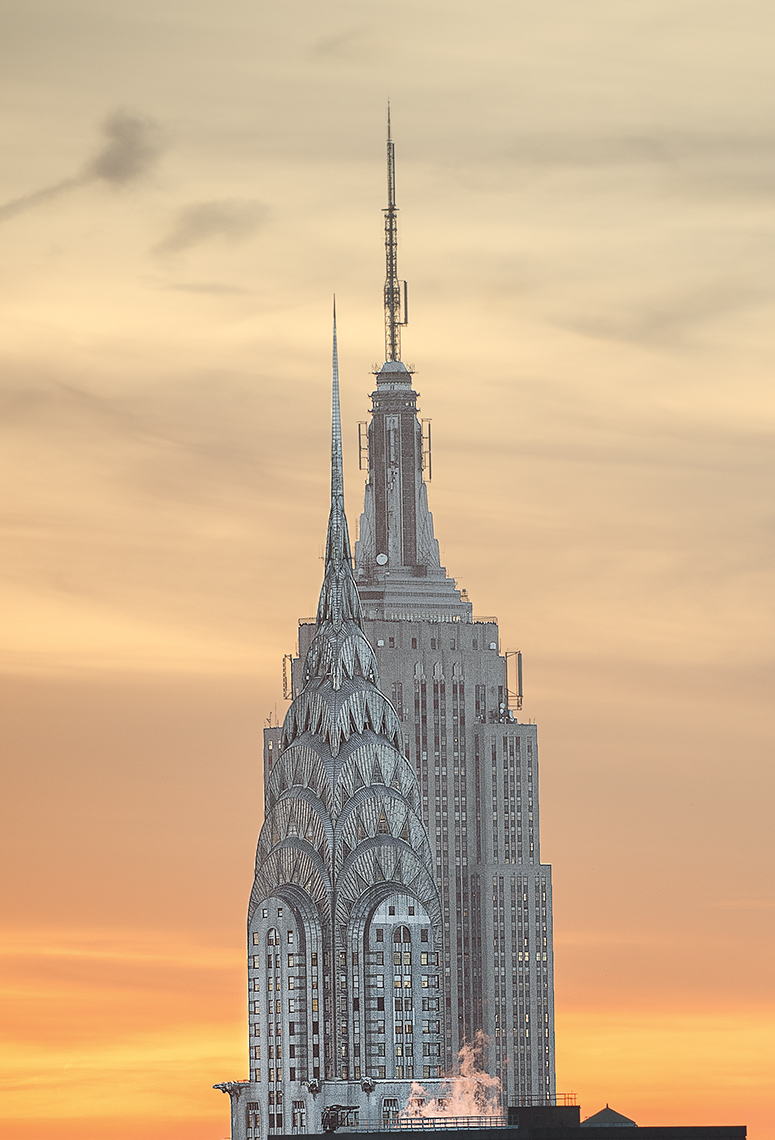 Chrysler And Empire State Building Aerial Photo at Sunset, New York City