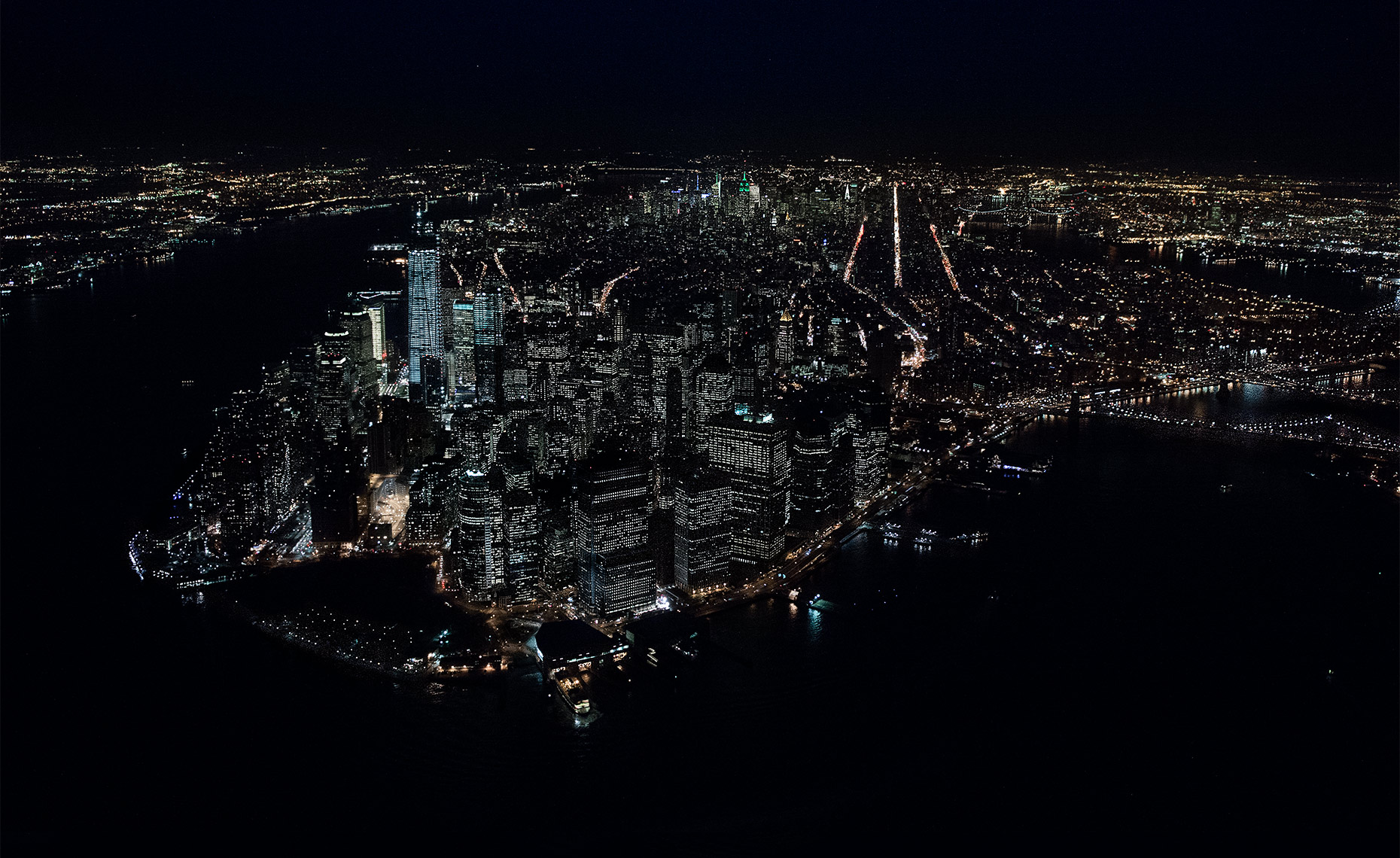 Aerial Photo Of Manhattan At Night NY Postcard