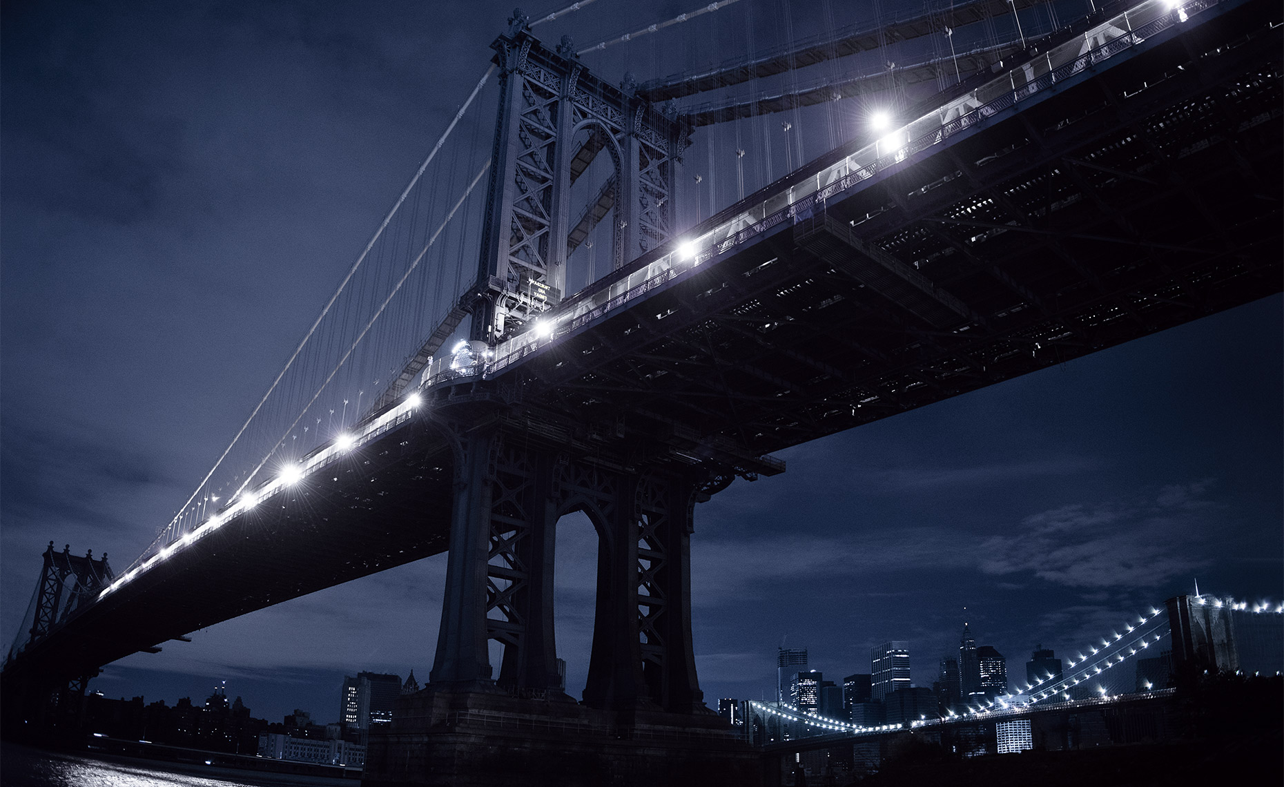Manhattan Bridge During Hurricane Sandy Blackout, New York City
