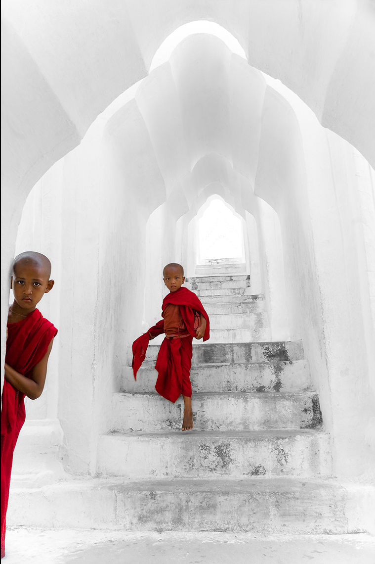 Young Buddhist Monks in Mingun Pagoda, Mandalay, Burma (Myanmar)