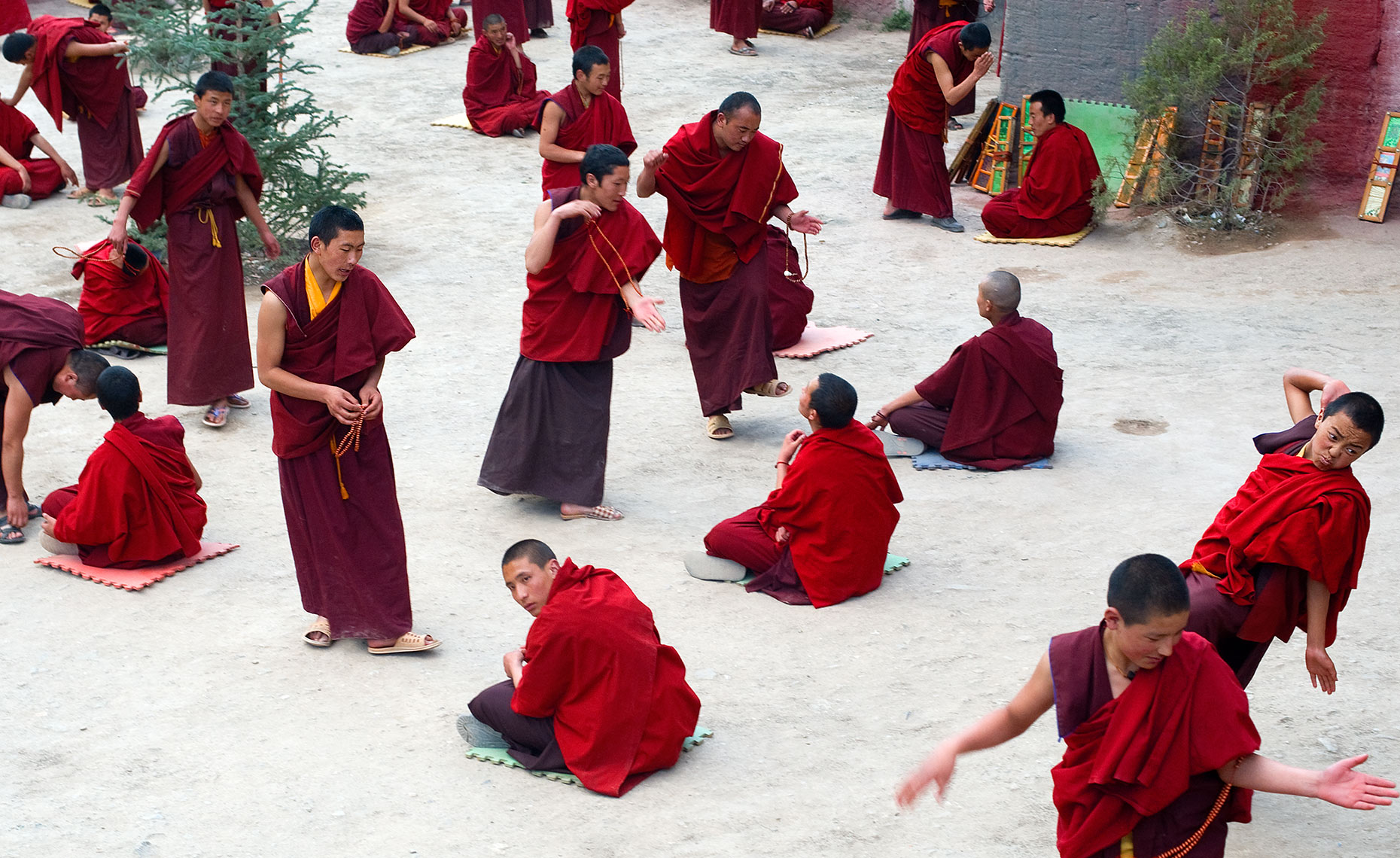 Monks Debating Buddhism in Dege, Monastery, Tibet