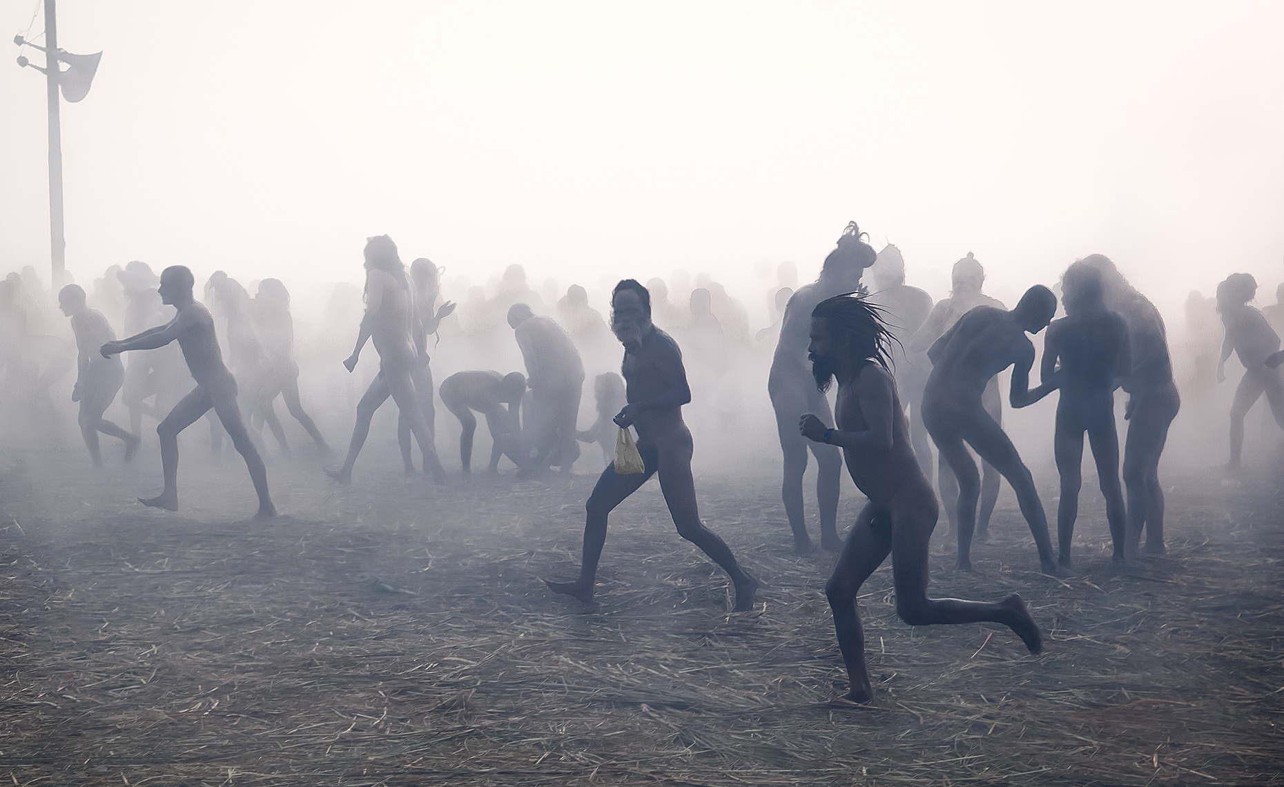 Naked Naga Sadhus Run To Ganges River, Kumbh Mela, Allahabad, India