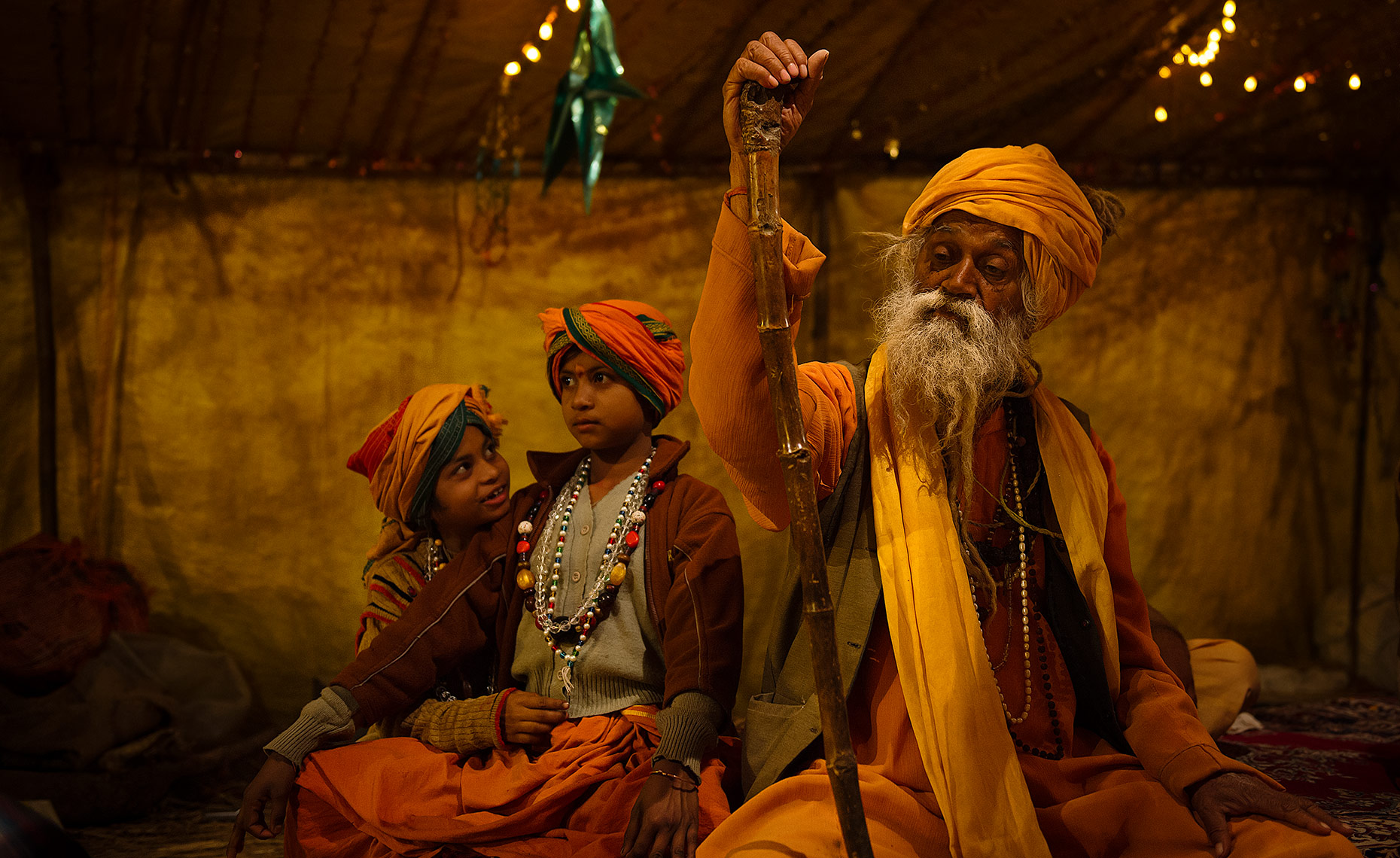 Sadhu And Young Apprentices, Kumbh Mela, Allahabad, India
