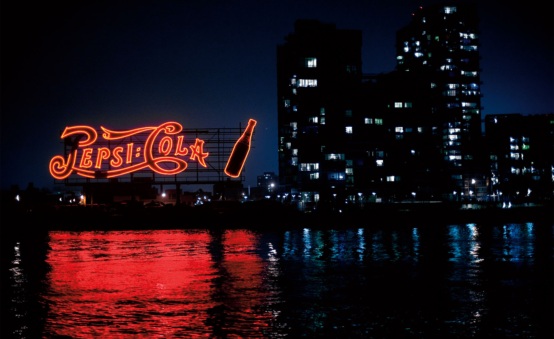 Pepsi Cola Sign, East River, New York City Postcard