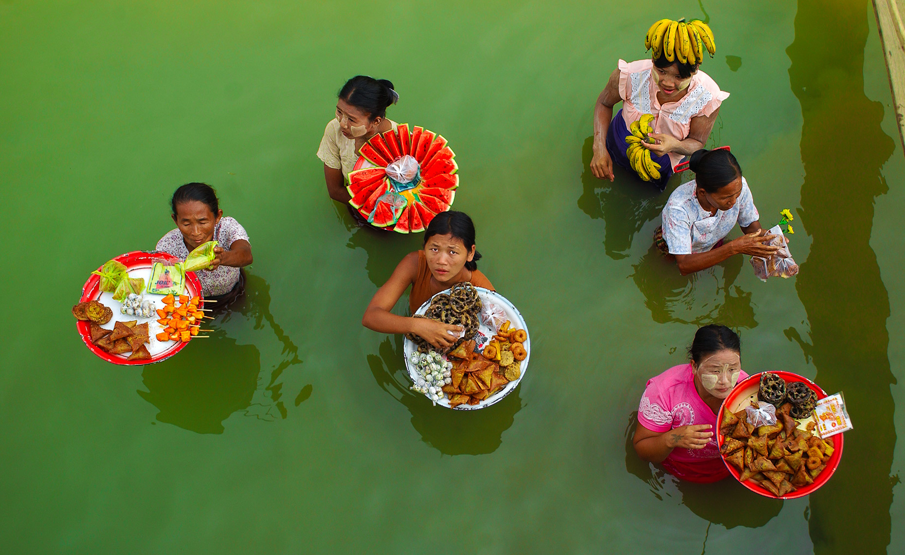Food Vendors in River near Bagan, Burma