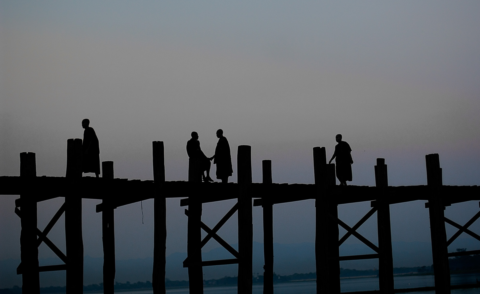 Buddhist Monks on U-Bein Bridge, Mandalay, Burma