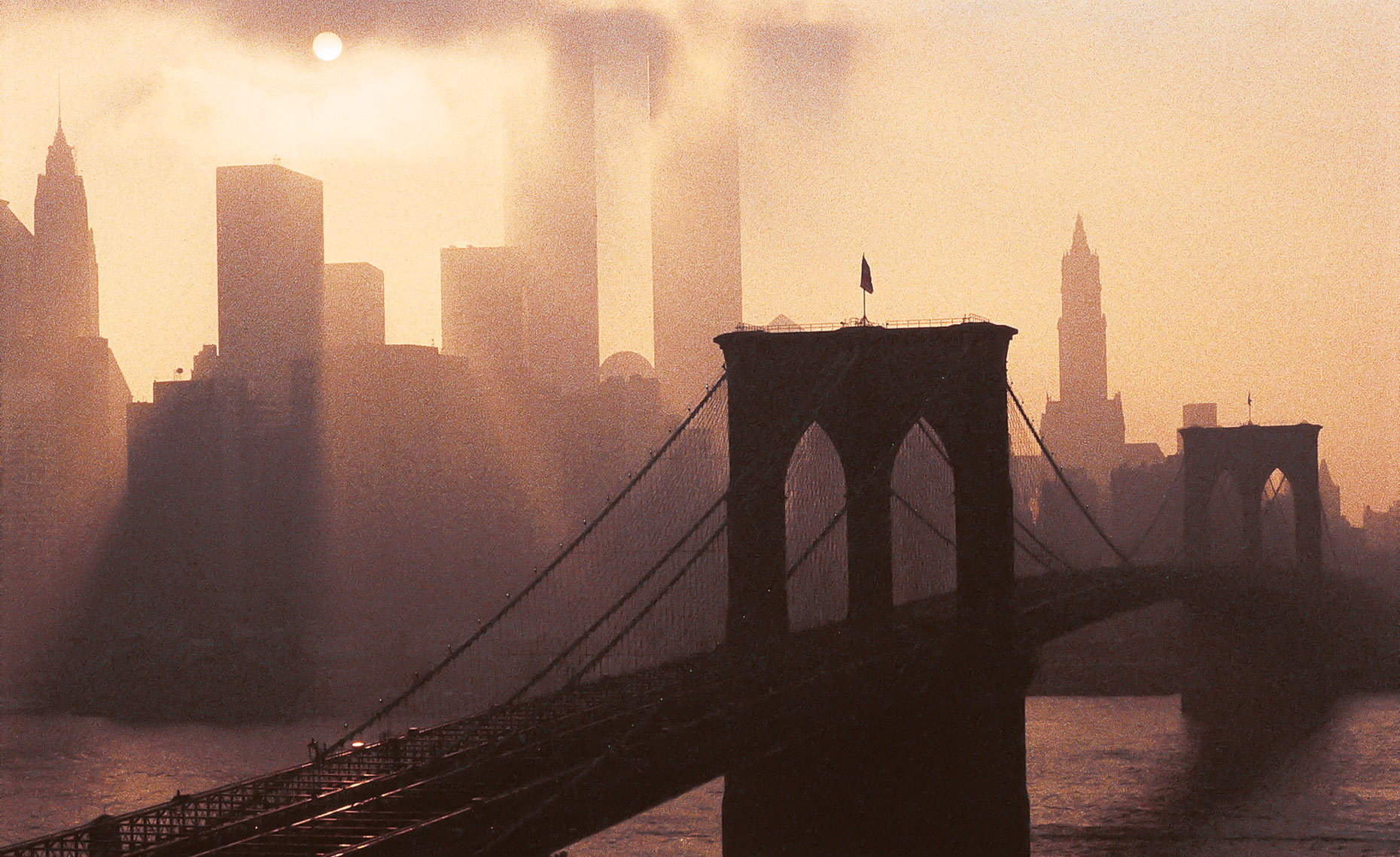Brooklyn Bridge And World Trade Center, New York postcard